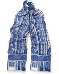 Bufanda de seda estampada azul