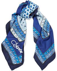 Bufanda de seda estampada azul de Diane von Furstenberg