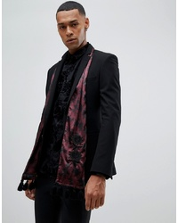 Bufanda de seda estampada burdeos de ASOS Edition