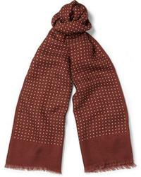 Bufanda de seda estampada burdeos de Richard James