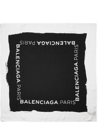 Bufanda de seda estampada en negro y blanco de Balenciaga