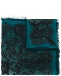 Bufanda de seda estampada en verde azulado