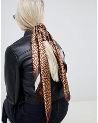 Bufanda de seda estampada marrón de ASOS DESIGN