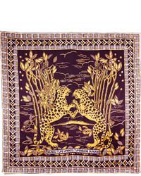 Bufanda de seda estampada morado oscuro de Valentino