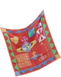 Bufanda de Seda Estampada Roja
