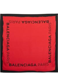 Bufanda de seda estampada roja de Balenciaga