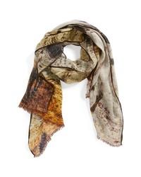 Bufanda de seda marrón claro