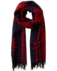 Bufanda de tartán en rojo y azul marino