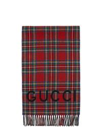 Bufanda de tartán roja de Gucci