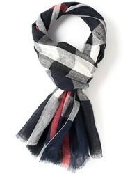 Bufanda en blanco y rojo y azul marino