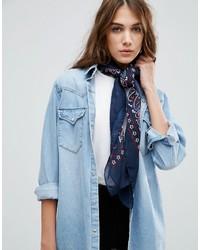 Bufanda estampada azul marino de Asos