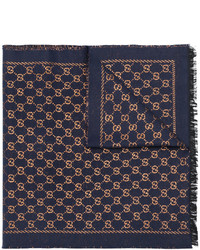 Bufanda estampada azul marino de Gucci