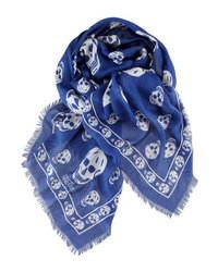 Bufanda estampada en azul marino y blanco
