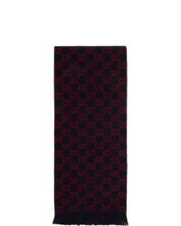 Bufanda estampada en azul marino y rojo de Gucci