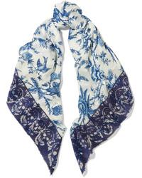 Bufanda estampada en blanco y azul