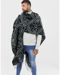 Bufanda estampada en gris oscuro de ASOS DESIGN