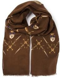 Bufanda estampada en marrón oscuro de Dolce & Gabbana