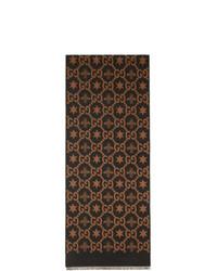 Bufanda estampada en marrón oscuro de Gucci