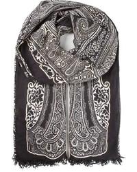 Bufanda estampada en negro y blanco de Etro