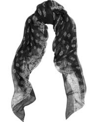 Bufanda estampada en negro y blanco de Saint Laurent