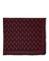 Bufanda estampada en rojo y negro de Alexander McQueen