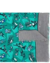 Bufanda estampada en verde azulado