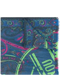 Bufanda estampada en verde azulado de Etro