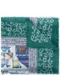 Bufanda estampada en verde azulado de Salvatore Ferragamo