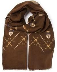 Bufanda estampada marrón de Dolce & Gabbana