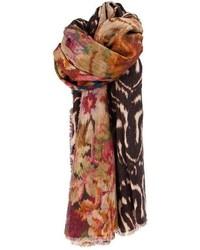 Bufanda estampada marrón de Pierre Louis Mascia