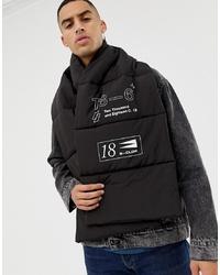 Bufanda estampada negra de ASOS DESIGN