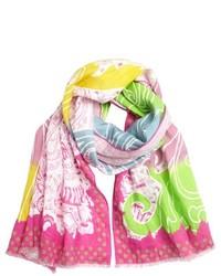 Bufanda estampada rosa