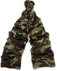 Bufanda ligera de camuflaje en marrón oscuro de Saint Laurent