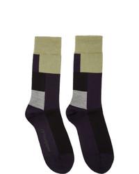 Calcetines de lana azul marino de GR-Uniforma