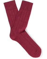 Calcetines de lana de punto rojos de Falke