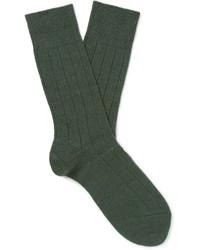 Calcetines de lana de punto verde oscuro