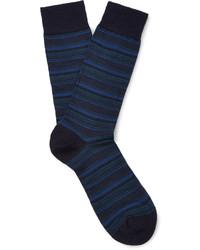 Calcetines de lana de rayas horizontales azul marino de Pantherella