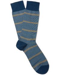 Calcetines de lana de rayas horizontales azules de Pantherella
