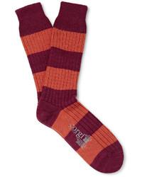 Calcetines de lana de rayas horizontales burdeos de Corgi