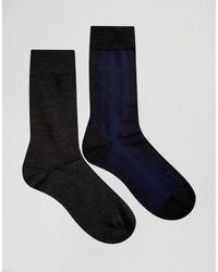 Calcetines de lana en gris oscuro de Hugo Boss