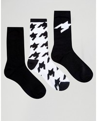 Calcetines de pata de gallo negros de Asos