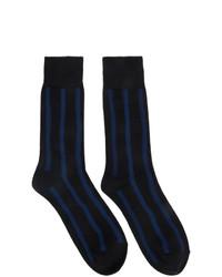 Calcetines de rayas horizontales azul marino de Issey Miyake Men