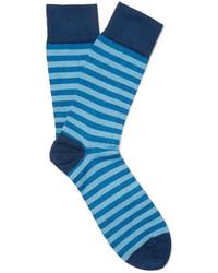 Calcetines de rayas horizontales azules de John Smedley