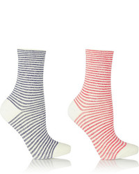 Calcetines de rayas horizontales blancos de Falke