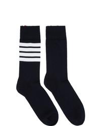 Calcetines de rayas horizontales en azul marino y blanco de Thom Browne
