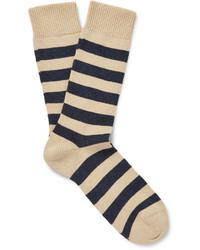Calcetines de rayas horizontales en beige de Oliver Spencer