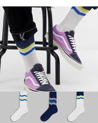 Calcetines de rayas horizontales en blanco y azul marino de ASOS DESIGN