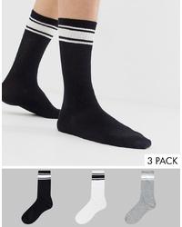 Calcetines de rayas horizontales en negro y blanco de Bershka