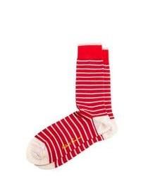 Calcetines de rayas horizontales en rojo y blanco