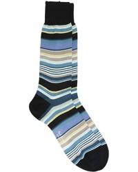 Calcetines de rayas horizontales en verde azulado de Paul Smith